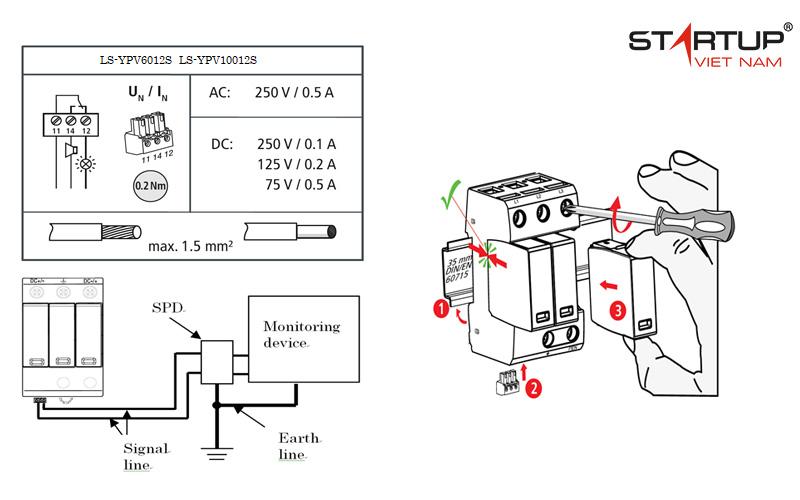 lắp đặt thiết bị chống sét đường điện DC cấp 2 OTOWA LS-YPV6012S