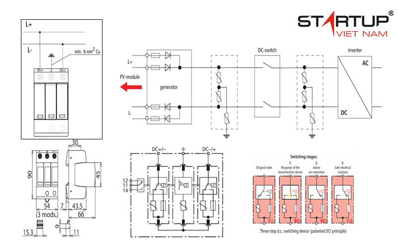 Sơ đồ kết nối thiết bị chống sét đường điện DC cấp 2 OTOWA LS-YPV6012S