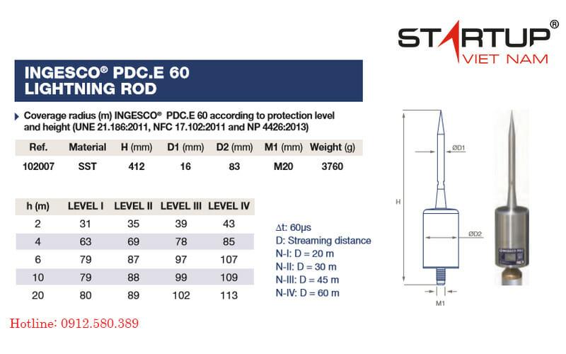 Kim thu sét Ingesco PDC.E 60 có bán kính bảo vệ 113m